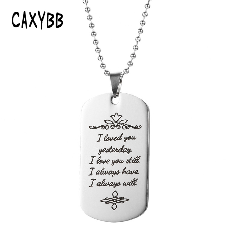 34850493a5eee Caxybb Fashion Stainless steel military army lettering pendant Women necklace  dog tag Pendant Jewelry sliver men