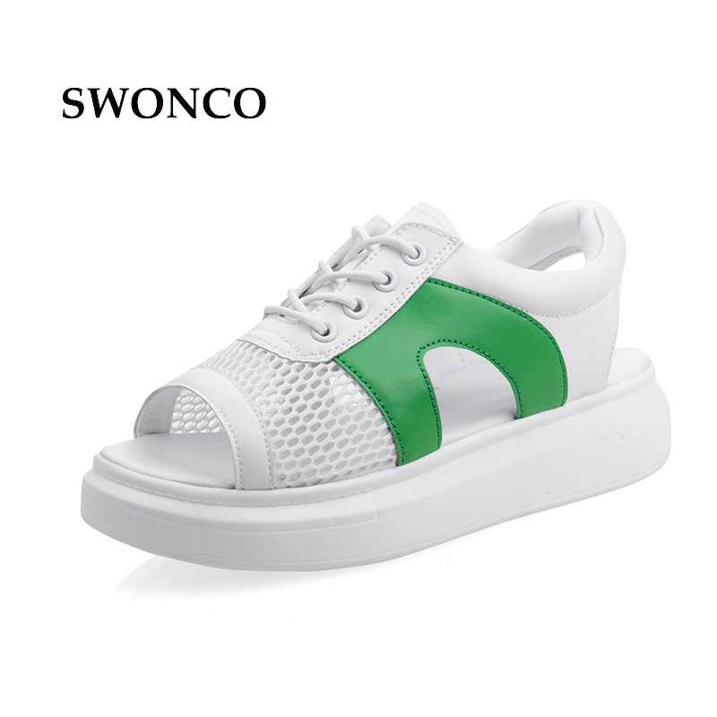 SWONCO Women's Sandals Breathable Mesh Thick Sole Casual Shoes Summer Sandals Women 2018 White Shoes Lace Up Woman Beach Shoe lin king thick sole women sandals retro rome gladiator sandals students thick sole platform shoes lace up summer beach shoes