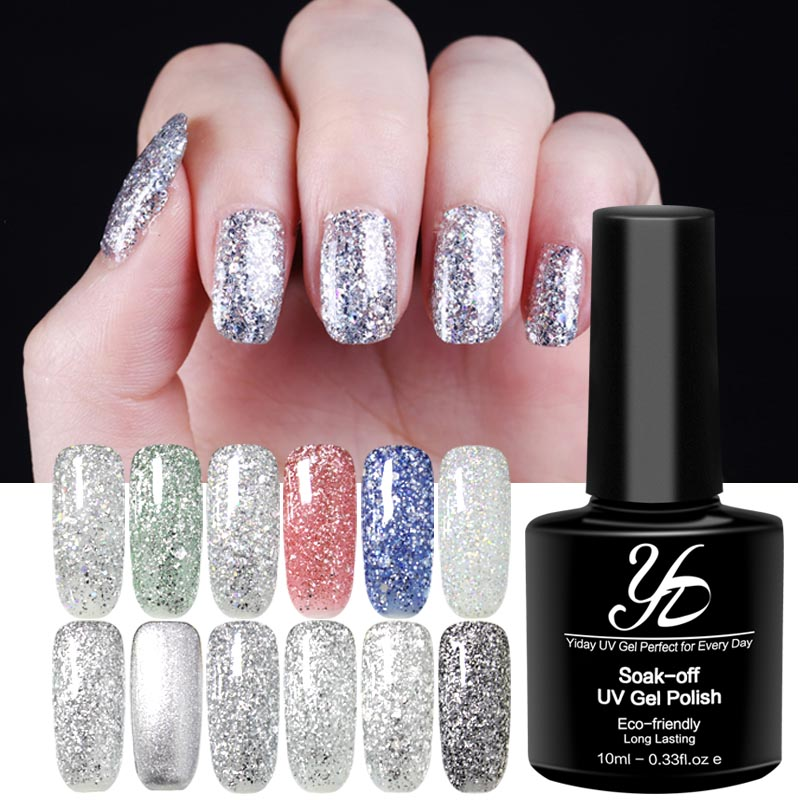 Yiday 1pcs Silver Diamond Sequin Series Soak off UV Gel Nail Polish Curing Led &