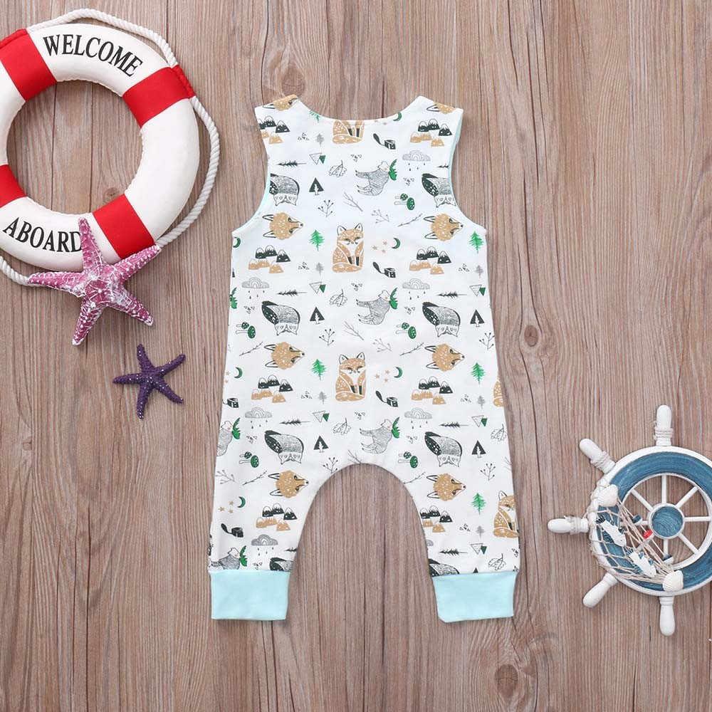 LONSANT 2018 модные летние Симпатичные новорожденного для маленьких мальчиков для девочек без рукавов с принтом зеленый комбинезон Детские комбинезоны