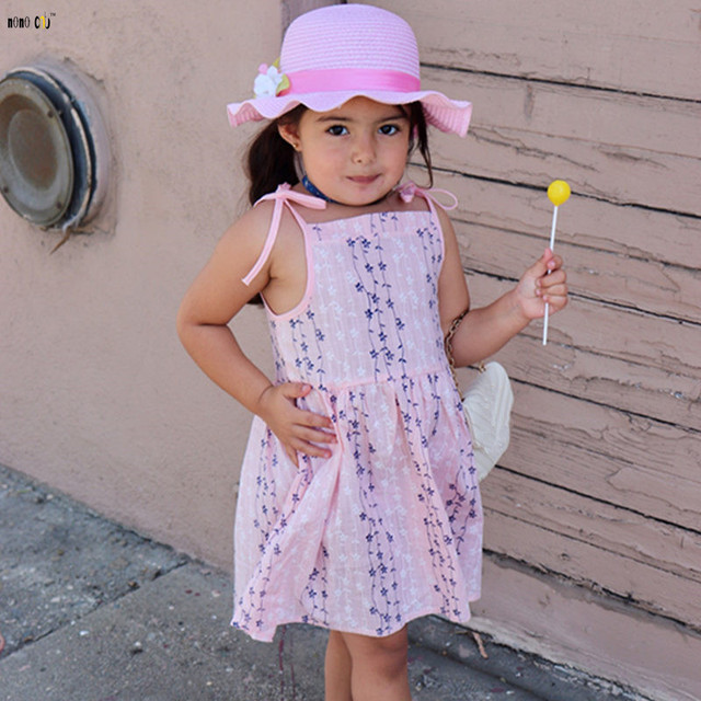 c26ffad83ae Summer Floral Dress Girl Sleeveless Print Cotton Casual Beach Dresses Baby Girls  Clothes For 2 3 4 5 6 7 8 Years