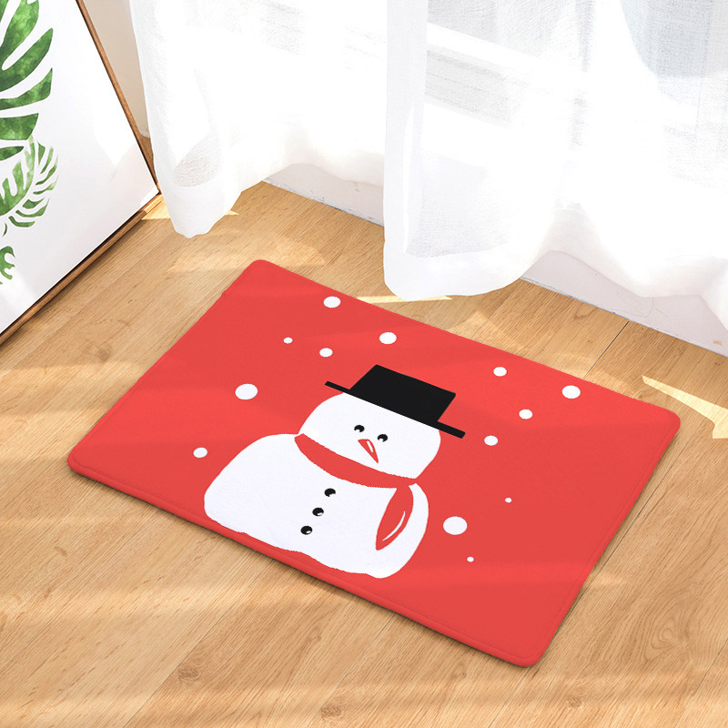 Christmas Home Decor Floor Mats Cute Snow Snowman Printed Flannel Anti Slip Absorbent Carpet for Bedroom Bathroom Doormat
