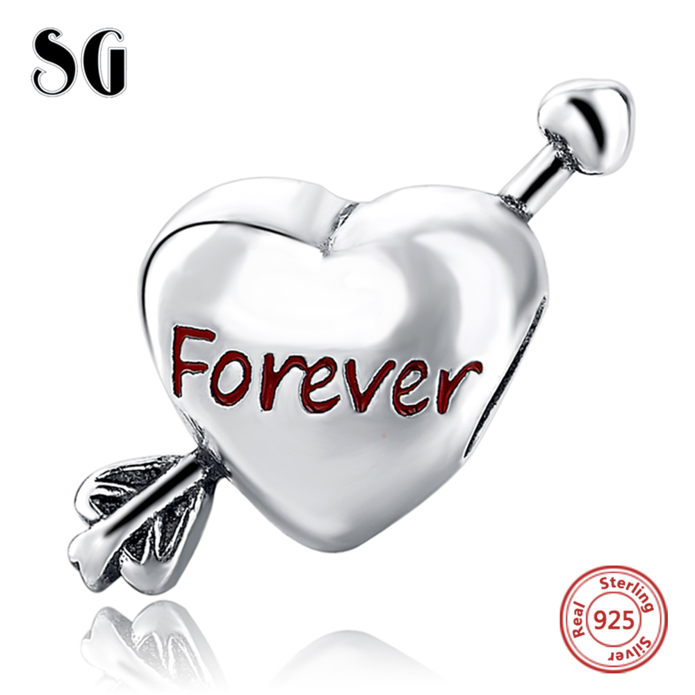 Silver Galaxy Love Heart with Arrow Pendant Beads For Women Bracelet Fit Pandora Charms Silver 925 Original Fashion DIY Jewelry