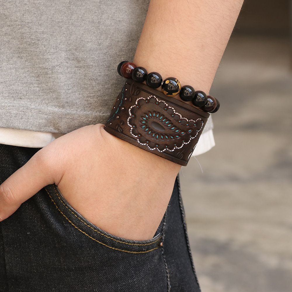 Kirykle hommes marron noir Vintage en cuir véritable bracelets large Bracelet en cuir pour les femmes Bracelet en forme de cellule Punk bijoux à breloques 6