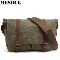 Military Canvas Shoulder Bags Vintage Waterproof Men Messenger Bags High Quality School Laptop Bag Big Travel