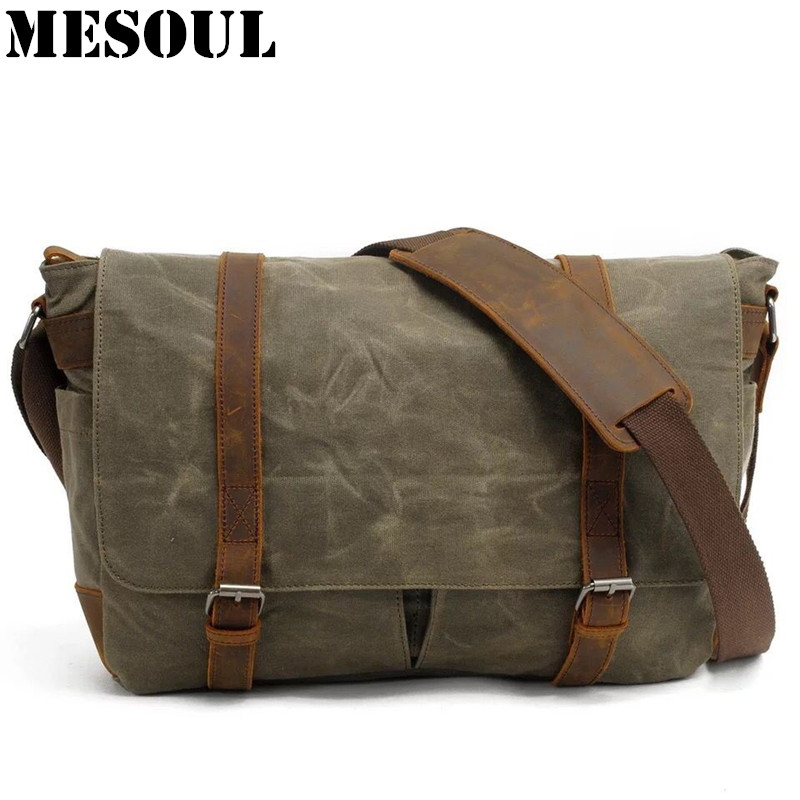 Military Canvas Shoulder Bags Vintage Waterproof Men Messenger Bags High Quality School Laptop bag Big Travel Male Crossbody Bag military canvas shoulder bags vintage waterproof men messenger bags high quality school laptop bag big travel male crossbody bag