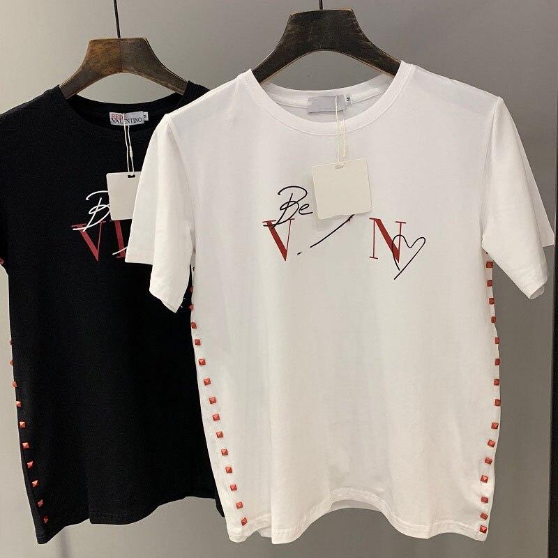 Nuova Shirt Casual T Bianco Streetwear Delle shirt Rivet White Stampa Magliette Vestiti Camicette Tee Femminile Donne 2019 Nero Corta Harajuku E black Manica Di Lettera 1wU1dx