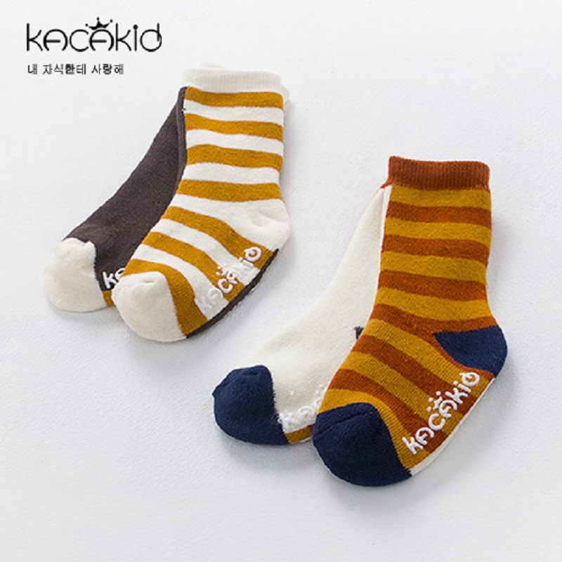 Kacakid new childrens socks baby fashion wide striped terry socks boy girls anti-skid thickening winter socks