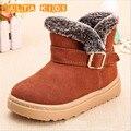 2016 Plantillas 16-23.5 CM Niños Botas de Invierno Gruesos Zapatos Calientes del Cuero Genuino Ata Para Arriba Botas Niñas Niños niños Zapatos BO07