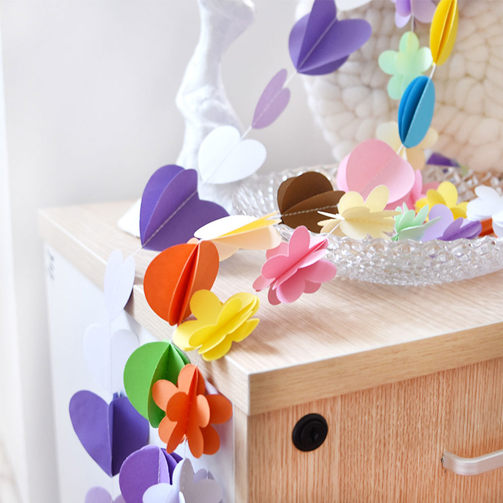 Zljq 1pcs Star Flower Butterfly Heart Shapes Colorful 3d Paper