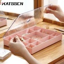 Hause Dekoration Multi grid kunststoff box für schmuck Rechteck Kunststoff Ring/Studs/Uhr/halskette/Schmuck veranstalter Boxen Mit Deckel