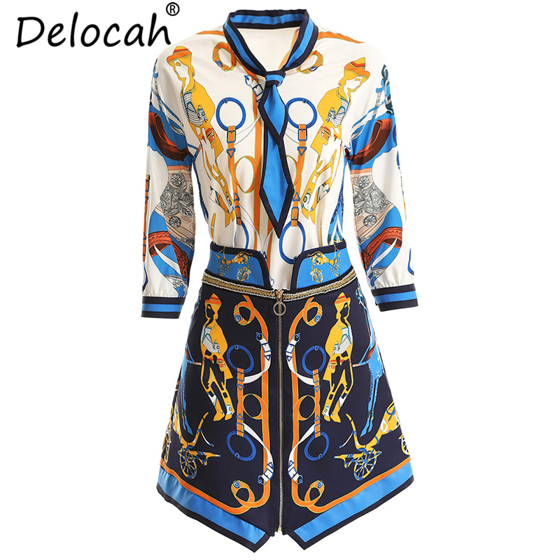 Delocah Women Spring Summer Vintage Suits Runway Fashion Three Quarter Bow Tie Shirt Elegant Character Printed Skirt 2Pieces Set in Women 39 s Sets from Women 39 s Clothing