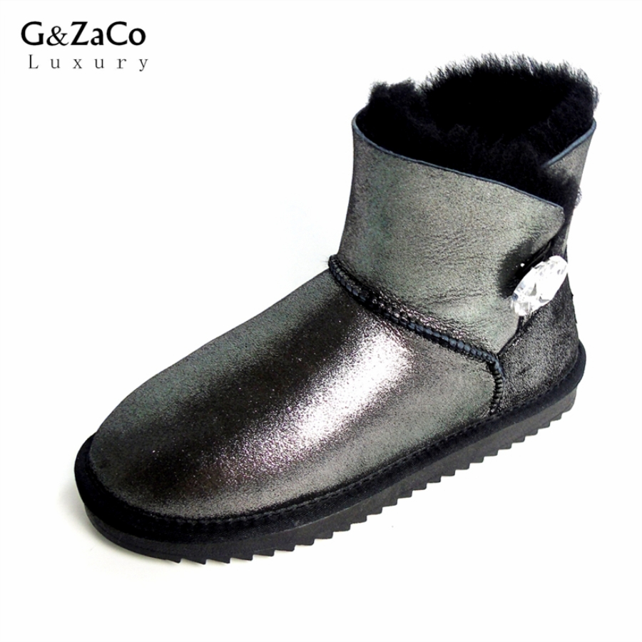 G&Zaco Luxury Short Sheepskin Snow Boots Women Genuine Leather Short Crystal Button Boots Winter Natural Wool Sheep Fur Boots