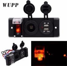 купить WUPP 1Pcs Switch Panel Dual USB Charger Cigarette Lighter Voltmeter Circuit Breaker Car Boat Round Rocker ON/OFF SPST Switch дешево