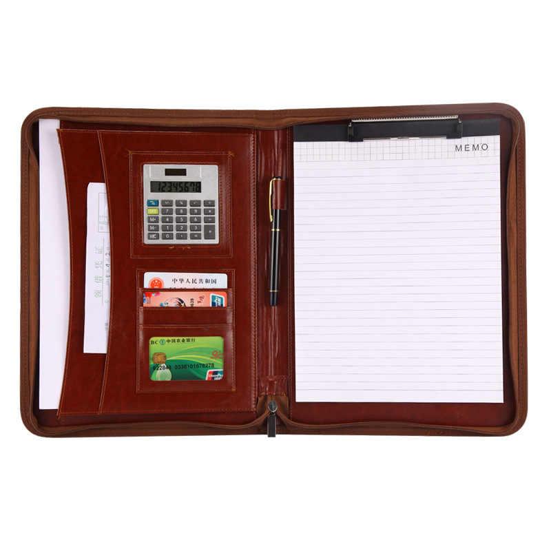 A4 حافظة مستندات PU جلدية مضغوط حلقة الموثق حقيبة مؤتمرات حقيبة أعمال مكتب مدرسة التموين مع دفتر حاسبة