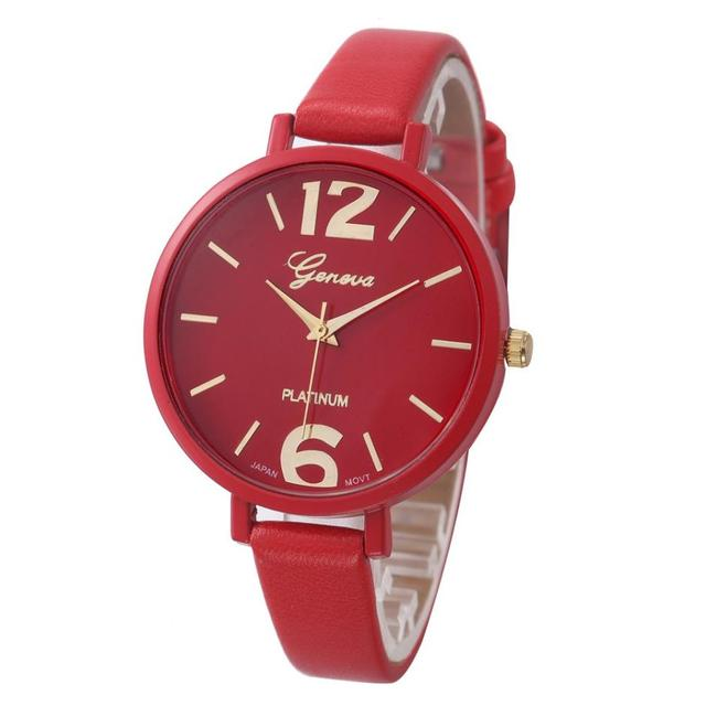 Timezone #401 Fashion Simple and pure color Geneva Women's Watch Leather Quartz
