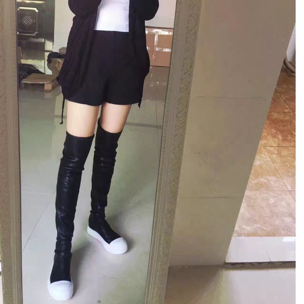 Large Size 11 Hottest Black Rubber Over-the-Knee Boots Round Toe Sock Flat Long Boot Women Skinny Winter Ridding Boots Real Pic