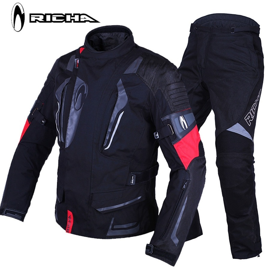 Livraison gratuite 1 Set hommes hiver coupe-vent imperméable à l'eau chaud réflecteur Textile Cordura CE blindé Moto veste et pantalon de Moto