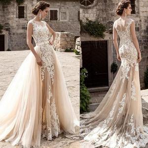 Image 1 - Champagne Lace Mermaid Wedding Dresses 2020 robe de mariee Detachable Train Sheer Illusion Wedding Gowns Handmade Gelinlik Bride