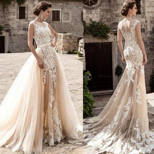 Champagne Lace Mermaid Wedding Dresses 2020 robe de mariee Detachable Train Sheer Illusion Wedding Gowns Handmade Gelinlik Bride