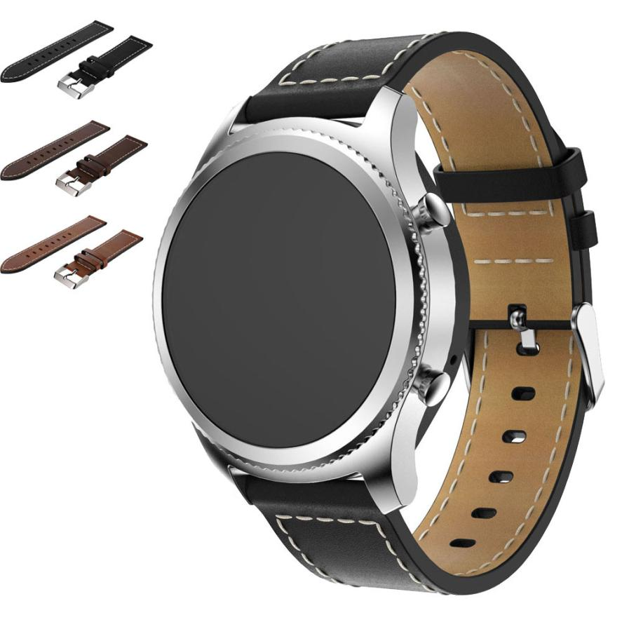 HOT Replacement Leather Watch Bracelet Strap Band For Samsung Gear S3 Frontier Hot Sale Supper Deal May5 eache silicone watch band strap replacement watch band can fit for swatch 17mm 19mm men women