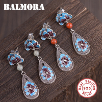 BALMORA 100% Real 925 Sterling Silver Retro Flower Enameling Stud Earrings for Women Fashion Earrings Jewelry Brincos