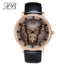 Famous Brand Women Watches Princess Butterfly Fashion Luxury Watch Waterproof Watches Woman Leather Strap Wristwatch HL595