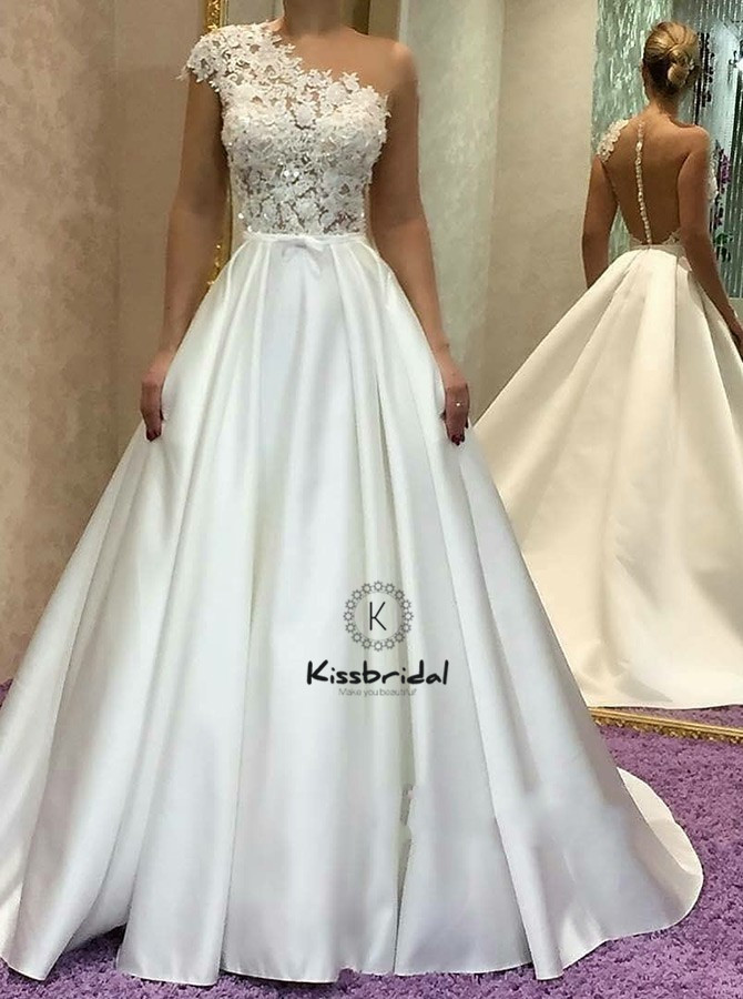 Элегантные атласные свадебные платья на одно плечо кнопку назад трапециевидной формы дешевые свадебные платья vestidos novias boda