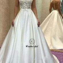kissbridal Elegant Satin Wedding Dresses A-line