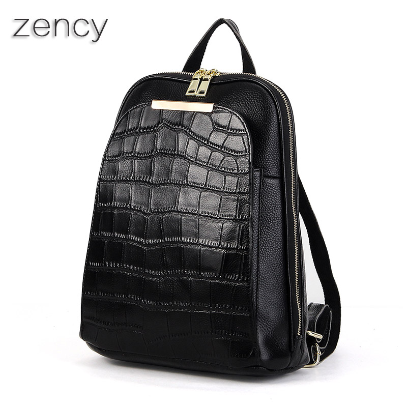 ZENCY Backpacks Genuine Leather Women Backpack Ladies Girls School Bag Top Layer Cowhide Book Bags Mochila Female Fashion Brand zency genuine leather backpacks female girls women backpack top layer cowhide school bag gray black pink purple black color