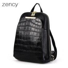 Zency mochila mochilas de cuero genuino de las mujeres señoras de la muchacha bolsa de la escuela mochila zurriago de la capa superior