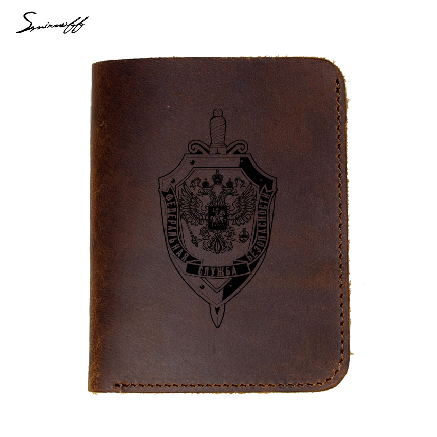 Genuine Leather Wallet With Russian Federal Security Service LOGO Purse Male Handmade Engraved  FSB Men Wallets