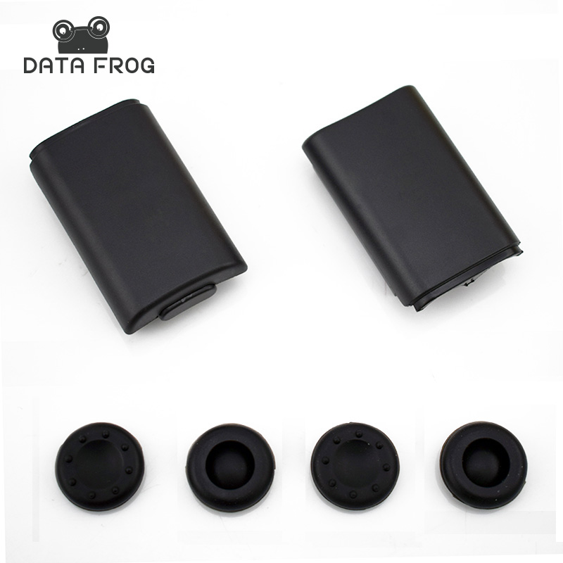 2x AA Battery Back Cover Pack Replacement Part For Xbox 360 Wireless Controller + 4 Silicone Grip Cap Cover Black
