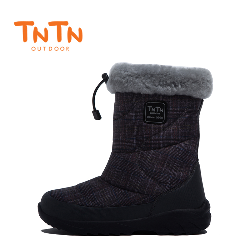 TNTN 2018 outdoor winter warm waterproof anti-skid thickening at the end of wool men and women shoes snow cotton boots the ocean at the end of the lane