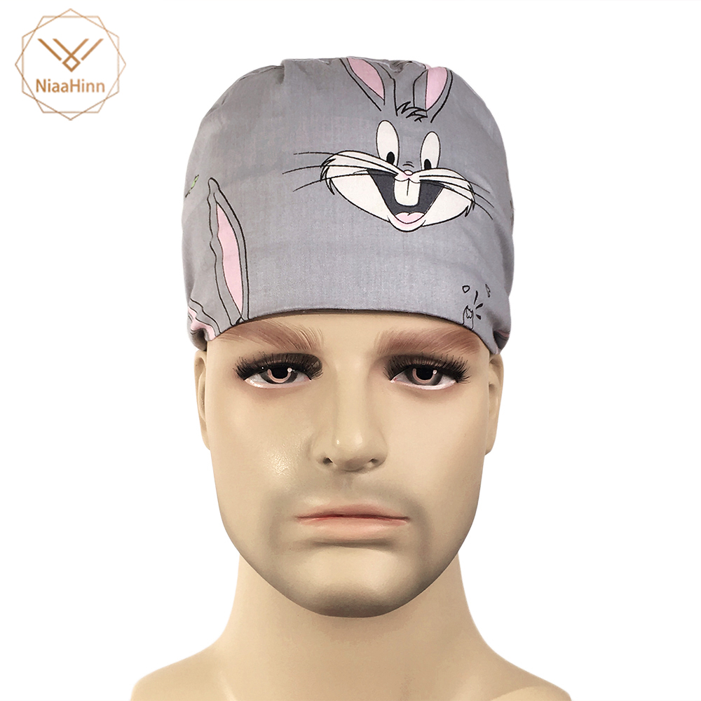 Cartoon Printing Elastic Section Surgical Caps Pet Caps Medical Supplies Cotton Scrub Caps For Women Men Hospital Medical Hats In Many Styles