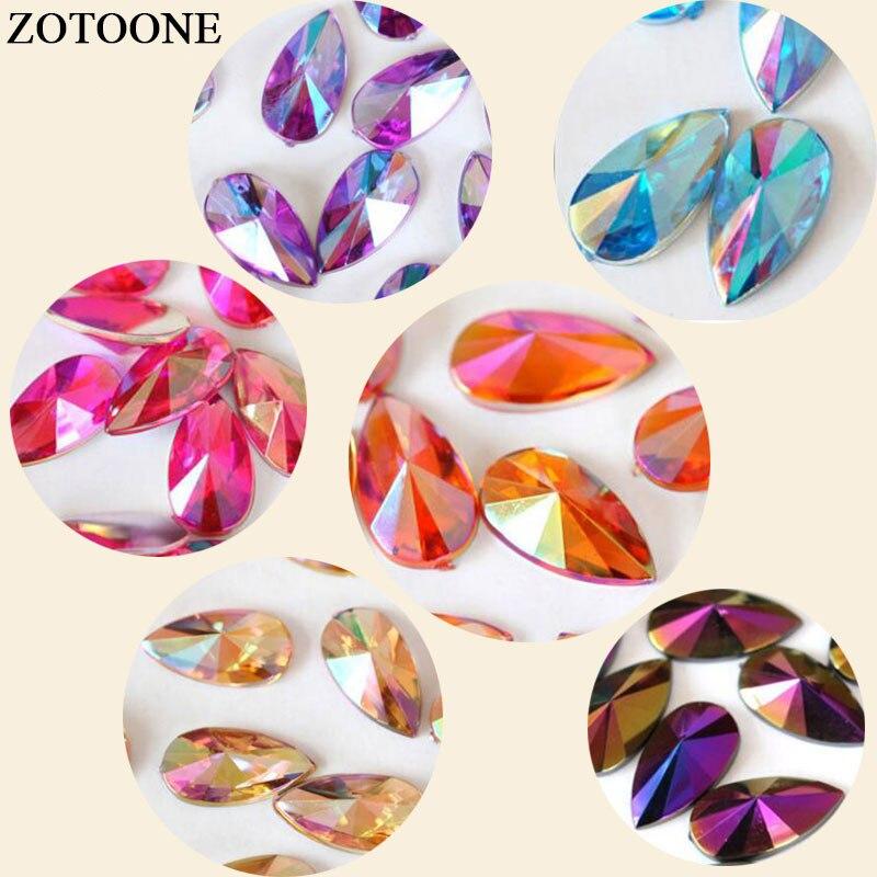 Prajna 50-100PCS 8X13MM HotFix Hot Sale Top Quality 6 Color Flatback Acrylic Rhinestone Jewelry Findings DIY Supplies Large DRD1