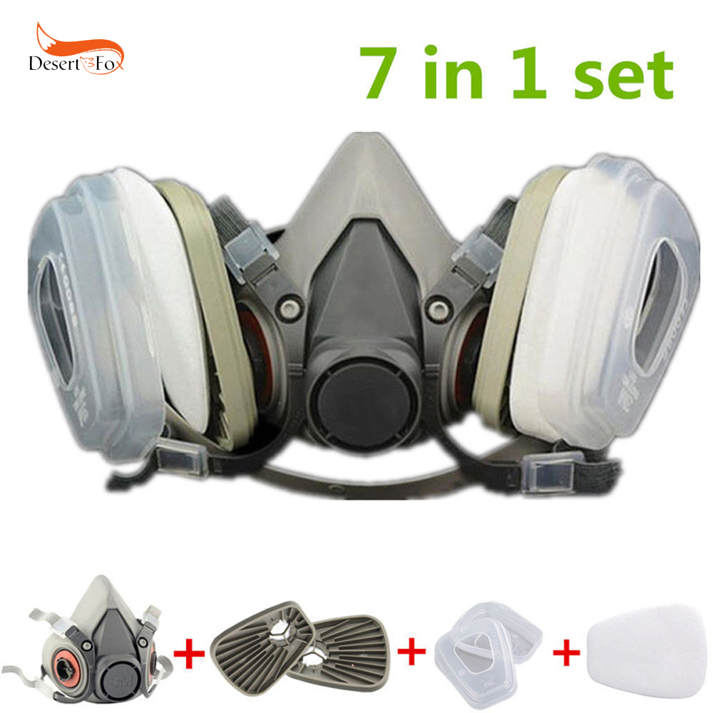 US 7 in 1 Half Face Gas Mask for 6200 Painting Spray Dust Protector Respirator 9 in 1 suit gas mask half face respirator painting spraying for 3 m 7502 n95 6001cn dust gas mask respirator