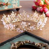 Round Circle Princess Crown for Bride Hair Jewelry Accessories Handmade Flowers Bridal Headwear bijoux de tete mariage H234