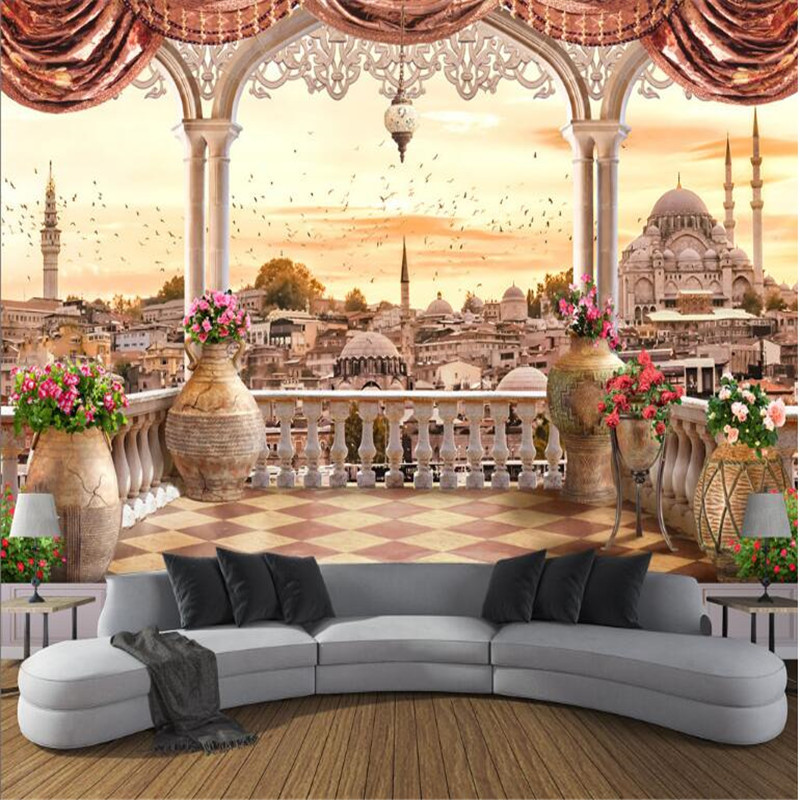 custom large modern 3d non-woven mural wallpaper balcony Turkish landscape 3d TV sofa living room background  home decor free shipping european tv background wall painting non woven wallpaper living room wallpaper modern rose wallpaper mural