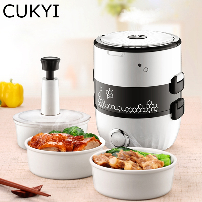 CUKYI 220V Electric mini rice cooker steam egg lunch box vacuum 2 double layers isulation 1.3L ceramic liner EU/US adapter