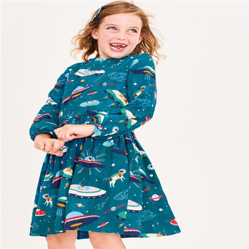 Girls Dresses for Autumn Spring Cotton Princess Party Wear Baby Clothes Long Sleeve Spaceships New 2019 Festival Dresses Girls