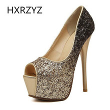 Brand HXRZYZ spring/summer fashion Platform 15cm super High Heel sexy  peep toe thin heel Shoes Women bling Color gradient Pumps