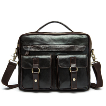 2016 New Genuine Leather Men Messenger Bag Men's Crazy Horse Leather Handbag Casual Business Laptop Shoulder Bags Briefcase Tote
