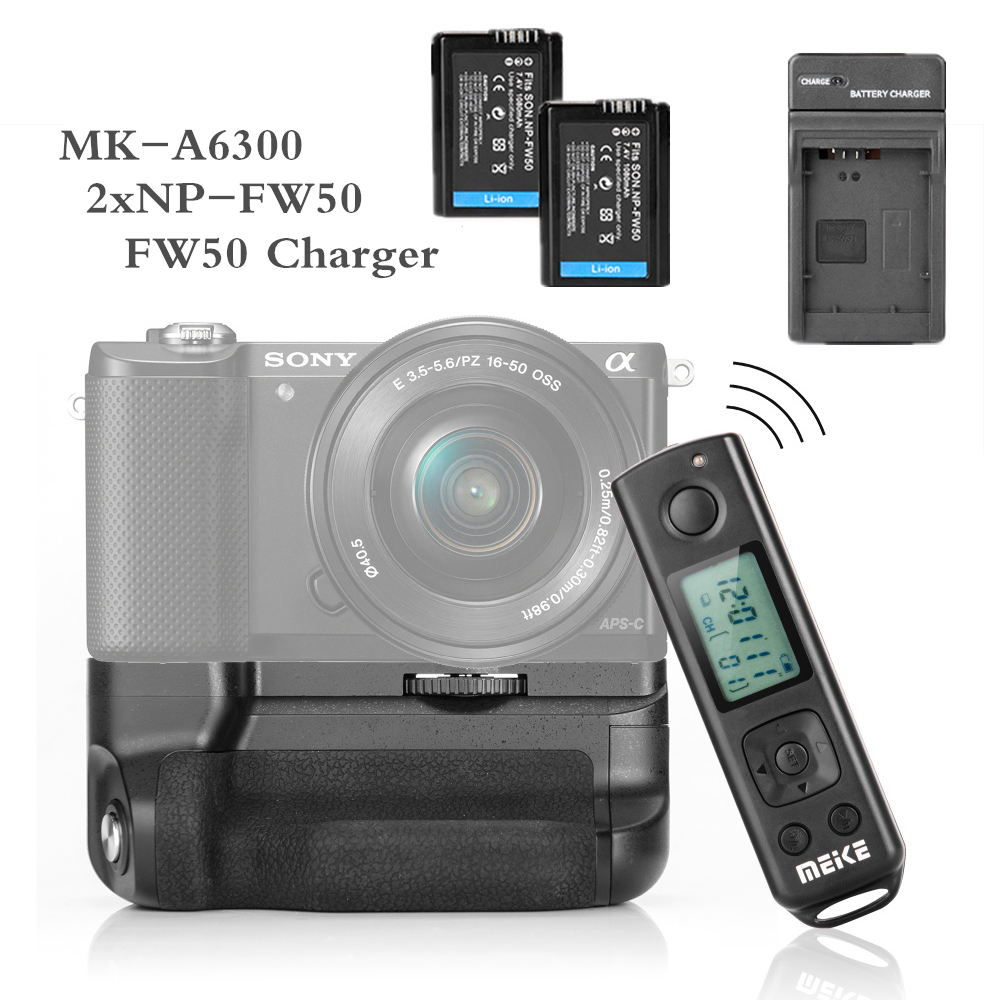Meike MK-A6300 pro Battery Grip Holder Built-in 2.4G Wireless Remote Control Suit for Sony A6300 A6000 meike mk d500 pro vertical battery grip built in 2 4ghz fsk remote control shooting for nikon d500 camera as mb d17