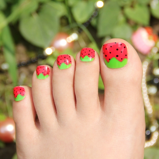Sweet Sexy Red Strawberry False Toe Nails With Green Leaves Acrylic 24pcs Fake Toenails Tips Z513