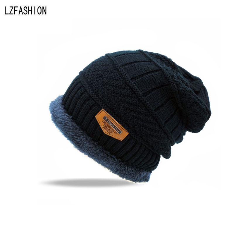 [LZFASHION] Fashion Winter Cap Knitted Hats Beanies Knit Skullies Bonnet Hats For Men Women Beanie Fur Warm Wool Hat Plus Fur autumn winter beanie fur hat knitted wool cap with raccoon fur pompom skullies caps ladies knit winter hats for women beanies