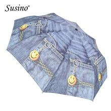 Susino Windproof Umbrella 8 Ribs Semi-automatic Open Manual Close Metal Pongee Three-folding Rain 7003