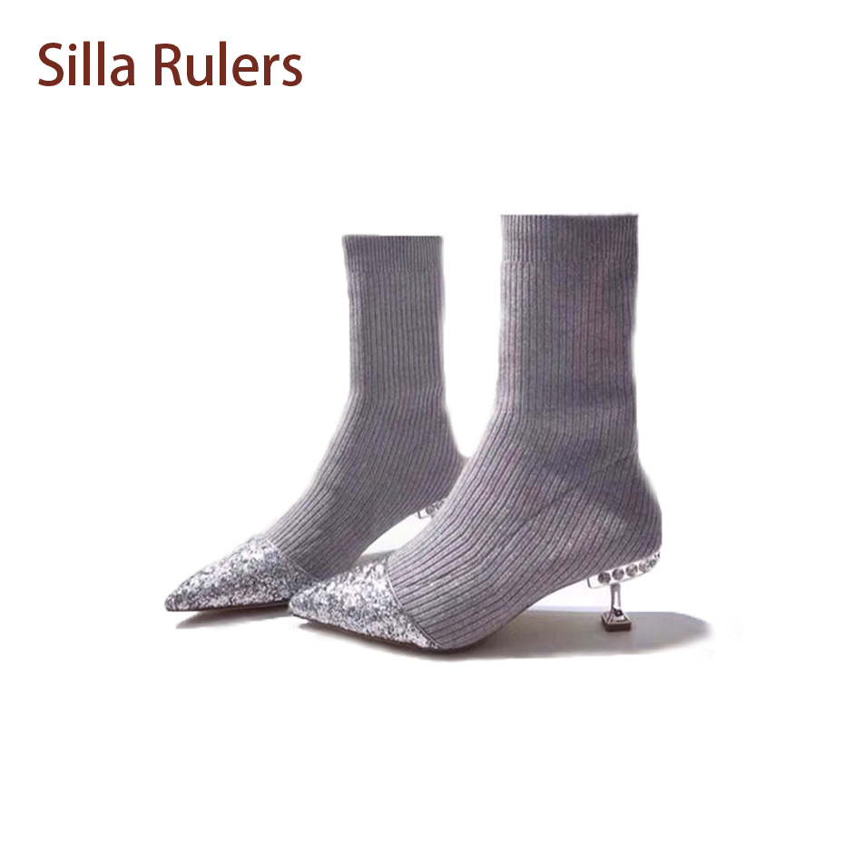 Silla Rulers Fasion Pointed Toe Stretch Sock Boots Crystal StudStrange Med Heel Women Short Boots Blingbling Patchwork Knit Boot
