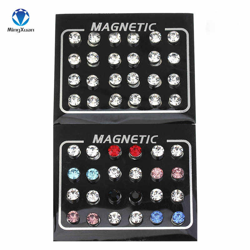 MINGXUAN New 24pcs/lot 3/4/5/6/7mm Round Crystal Rhinestone Magnet Stud Earring Puck Womens Mens Magnetic Fake Ear Plug Jewelry