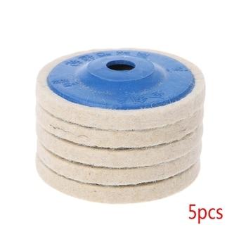 5 piezas 4 rueda redonda de pulido fieltro lana pulidores almohadilla herramientas de disco amortiguador